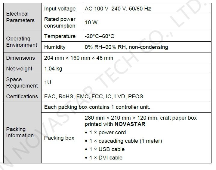 Spesifikasi Novastar sender box mctrl300