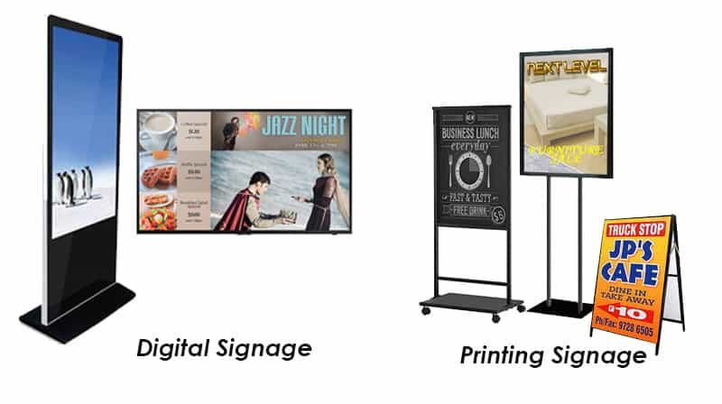 digital signage and printing signage