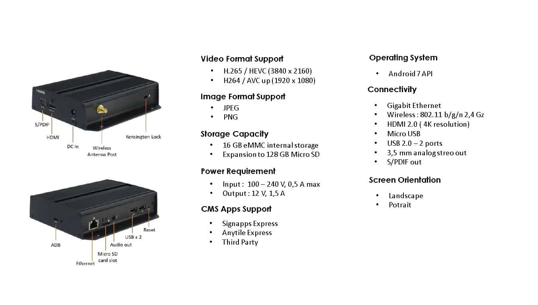 Spesifikasi produk digital signage player iadea xmp-7300